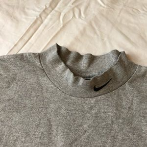Embroidered Mock Neck Tee